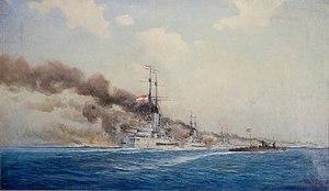 Een schilderij met meerdere slagschepen in een rij die een kustlijn beschieten.  Er komt rook uit zowel het land als de kanonnen van elk schip.