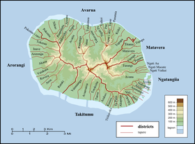 Districts and tapere of Rarotonga