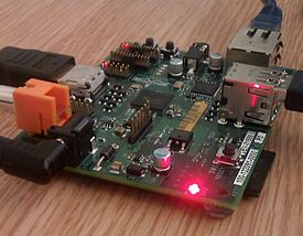 Raspberry Pi board at TransferSummit 2011 cropped.jpg