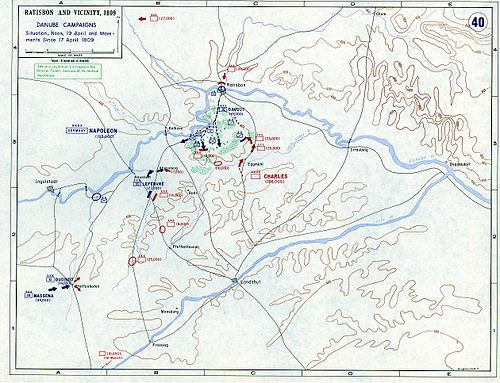 The general situation from 17 to 19 April involved the Austrians moving towards the strategic city of Regensburg in hopes of attacking the isolated French III Corps. Ratisbon and vicinity, 17 - 19 April, 1809.jpg