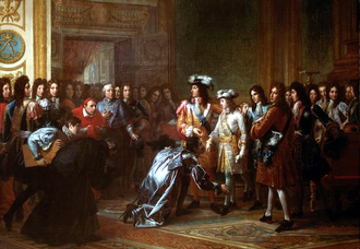Philip of Anjou proclaimed as the King of Spain in November 1700. A dispute over his succession led to war between the Grand Alliance and the Bourbon alliance. Recognition of the Duke of Anjou as King of Spain.png