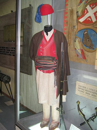 Military Museum, Belgrade - Look privates of Serbian Revolutionary Army on 1804, uniforms of fathers of modern Serbia.