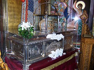 Demetrius of Thessaloniki - Relics of St. Demetrius at the Aghios Demetrios Basilica in Thessaloniki.