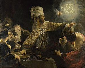 Rembrandt's 'Belshazzar's Feast' (1635) captures the scene of fear. The Hebrew script is written up and down rather than right to left, offering an inventive explanation for why it cannot be decrypted. (National Gallery, London)