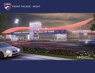 National Soccer Hall of Fame - Rendering of the future building for the National Soccer Hall of Fame in Frisco, Texas. The expected opening is October 20, 2018. Image release by Hall of fame.