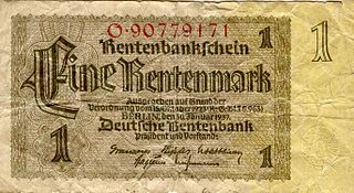 German Rentenmark german currency 1923 - 1924