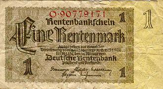 German Rentenmark - Image: Rentenmark (front)