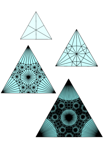 Self-similarity - A triangle subdivided repeatedly using barycentric subdivision. The complement of the large circles is becoming a Sierpinski carpet