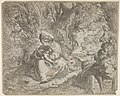 Rest on the flight into Egypt, the Virgin seated on grass in a grove with the Christ Child in her lap, at right Joseph reclines and points toward them, a donkey beyond Joseph MET DP832652.jpg