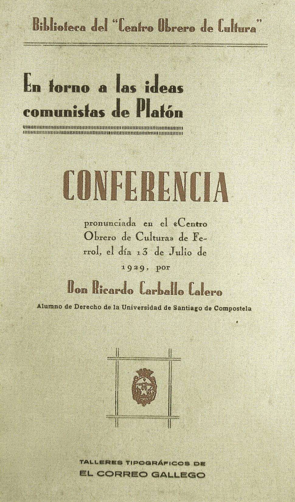 Ricardo Carballo Calero- En torno a las ideas comunistas de Platón