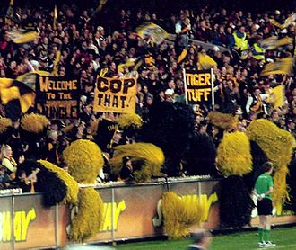 Pom-pom - Fans at Australian rules football matches wave floggers behind the goals to signify that a goal was scored.