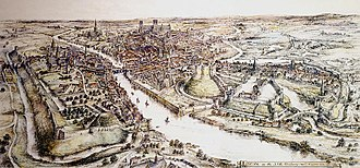 York - A panorama of 15th-century York by E Ridsdale Tate, York Castle is on the right hand side of the river, opposite the abandoned motte of Baile Hill