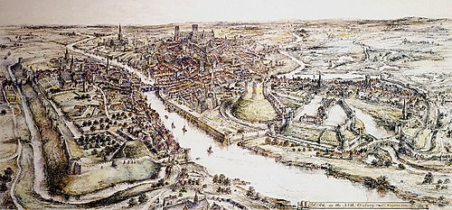 A panorama of 15th-century York by E Ridsdale Tate, York Castle is on the right hand side of the river, opposite the abandoned motte of Baile Hill RidsdalePanorma.jpg