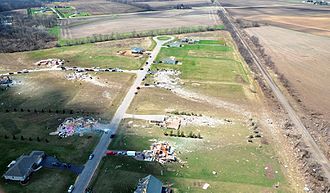 2015 Rochelle–Fairdale, Illinois tornado - Ground scouring and very high-end EF4 damage to homes in the Deer Creek subdivision near Rochelle.