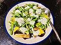 Rocket lettuce, Zucchini, Beetroot, Corn kernels, Pumpkin seeds and Yogurt sauce salad plus spices.jpg