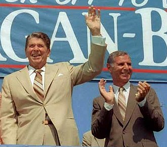 George Deukmejian - Deukmejian with President Ronald Reagan at a presidential campaign rally in Fountain Valley, California in September 1984
