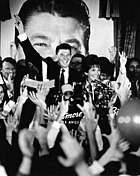 Ronald Reagan and Nancy Reagan at victory celebration for 1966 Governor's election