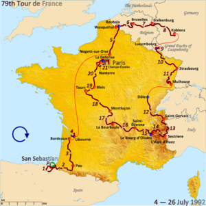 1992 Tour de France - Route of the 1992 Tour de France