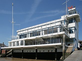 Burnham-on-Crouch - The Royal Corinthian Yacht Club at Burnham-on-Crouch, Essex. The international style building was designed by Joseph Emberton in 1931