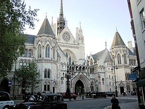 English law - The Royal Courts of Justice on the Strand in London is the seat of the High Court of Justice and the Court of Appeal.