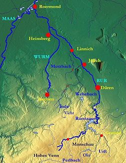 River basin of the Rur with the course of the Wurm