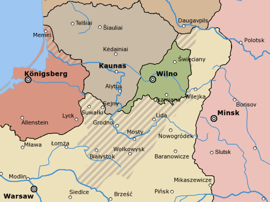 "Lithuanian-Polish territorial disputes in the early 1920s: the ""Republic of Middle Lithuania"" (green) Rzeczpospolita Lithuania claims.png"