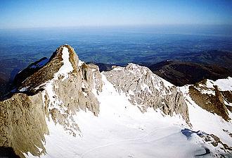 Alpstein - View from Säntis to Girenspitz (2448 m).