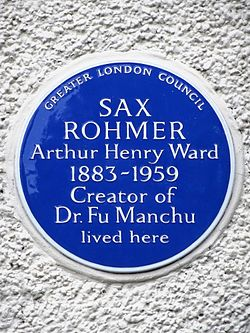 Sax rohmer arthur henry ward 1883 1959 creator of dr. fu manchu lived here