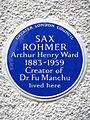SAX ROHMER Arthur Henry Ward 1883-1959 Creator of Dr. Fu Manchu lived here.jpg