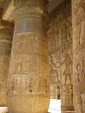 Polychromed column with bass-reliefs at the temple of Medinet Habu, dedicated to Rameses III SFEC-2010-MEDINET HABU-061.JPG