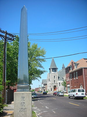 Gate District, St. Louis - The entrance to the Gate District on Compton Avenue.