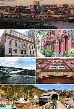 Clockwise: Saint John skyline, Germain Street row houses, City Market, St. Martins covered bridge, Reversing Falls, Imperial Theatre