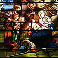 Saint Mary Catholic Church (Dayton, Ohio) - stained glass, Adoration of the Shepherds - tight crop.JPG