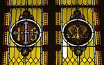 Saint Mary Catholic Church (Philothea, Ohio) - stained glass, Holy Name and Marian monogram.jpg