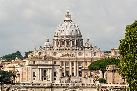 St. Peter's Basilica in Vatican City, the largest church in the world Saint Peter's Basilica facade, Rome, Italy.jpg