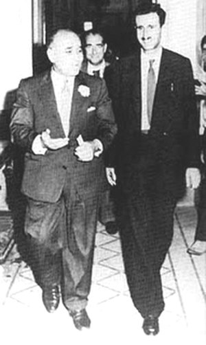 Saeb Salam - Salam (left) and ally Kamal Jumblatt (right) in the Damascus office of Syrian President Shukri al-Quwatli, 1958