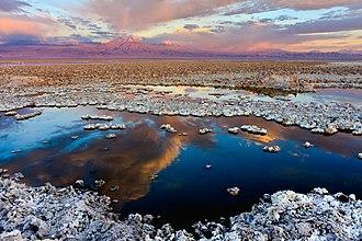 Salar de Atacama - Salar de Atacama, in the background the volcano Licancabur