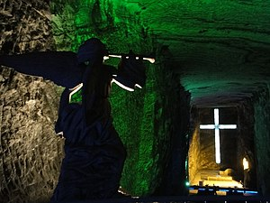 Salt Cathedral of Zipaquirá - Main altar in the new cathedral with cross and angel sculpture.