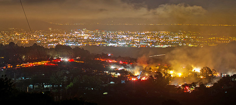San Bruno natural gas pipeline explosion at night