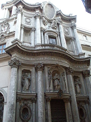 San Carlo alle Quattro Fontane - Facade of Church of San Carlo alle Quattro Fontane by Francesco Borromini