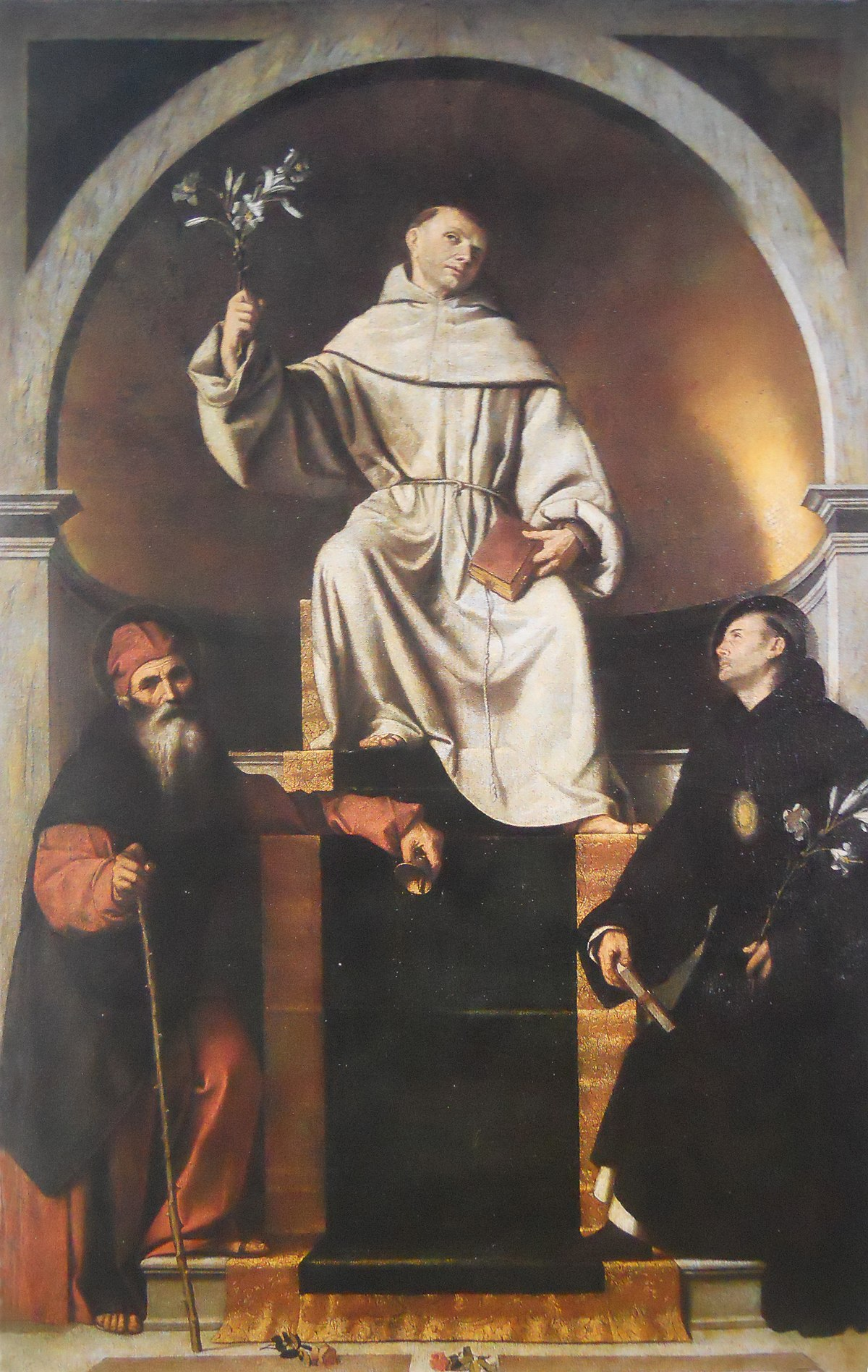 saint anthony of padua with saints anthony abbot and nicholas of tolentino wikidata. Black Bedroom Furniture Sets. Home Design Ideas