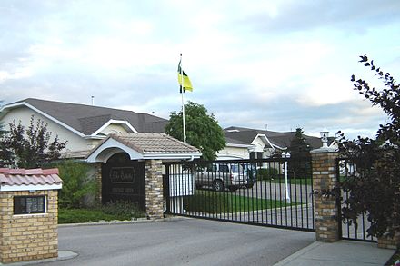 A guarded, gated community located in Saskatoon, Saskatchewan, Canada. Saskatoon gated community.JPG