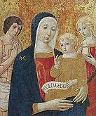 Saturnia, chiesa di santa maria maddalena, Madonna col Bambino fra San Sebastiano e Santa Maria Maddalena, attribuita a Benvenuto di Giovanni, della fine del sec. XV,