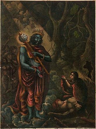 Savitri and Satyavan - Savitri begs Yama for Satyavan's life.