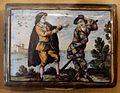 Scatola rettangolare in maiolica con scena della commedia dell'arte, xviii secolo 02.jpg