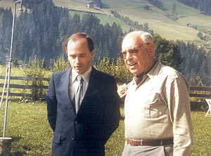 Hans Köchler, left, and Polish philosopher Adam Schaff at the European Forum Alpbach, August 1980