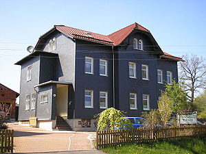 Thuringian Highland - Slate houses like these in Gehren characterise many of the villages in the Thuringian Highland