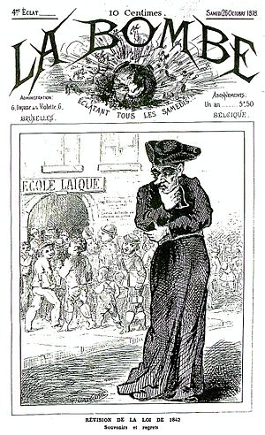 First School War - Cover of the satirical magazine La Bombe of October 1878, depicting Catholic disapproval of the new secular schools.