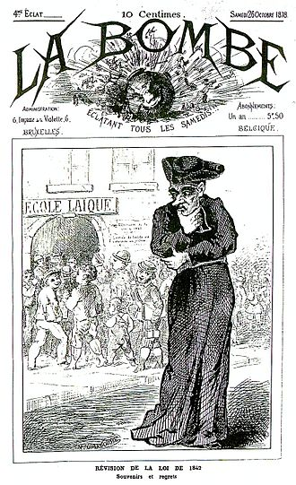 """Gustave Rolin-Jaequemyns - Cover of the satirical magazine La Bombe (""""The Bomb"""") about the school struggle, 28 October 1878"""