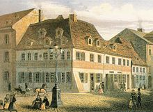 Schumann's birth house, now the Robert Schumann House, after an anonymous colourized lithograph (Source: Wikimedia)